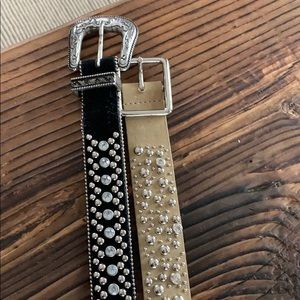Lot of two rhinestone stud belts